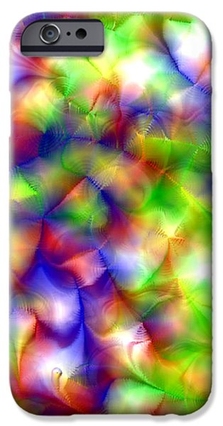 Gina Manley iPhone Cases - Colorful Fractal Abstract  iPhone Case by Gina Lee Manley