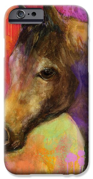 Horse Artist iPhone Cases - Colorful impressionistic pensive horse painting print iPhone Case by Svetlana Novikova