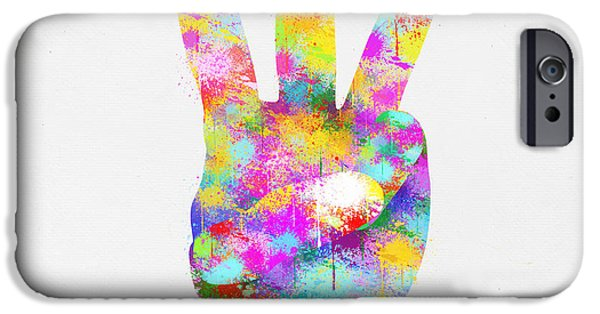 Concept Digital iPhone Cases - Colorful Painting Of Hand Point Three Finger iPhone Case by Setsiri Silapasuwanchai