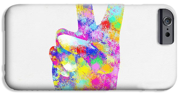 Victory iPhone Cases - Colorful Painting Of Hand Point Two Finger iPhone Case by Setsiri Silapasuwanchai