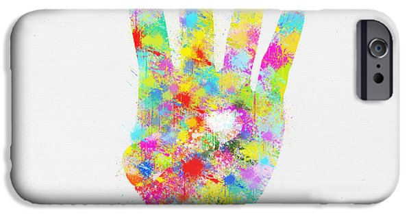 Vivid iPhone Cases - Colorful Painting Of Hand Pointing Four Finger iPhone Case by Setsiri Silapasuwanchai