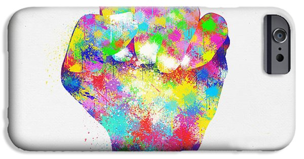 Punch Digital iPhone Cases - Colorful Painting Of Hand iPhone Case by Setsiri Silapasuwanchai
