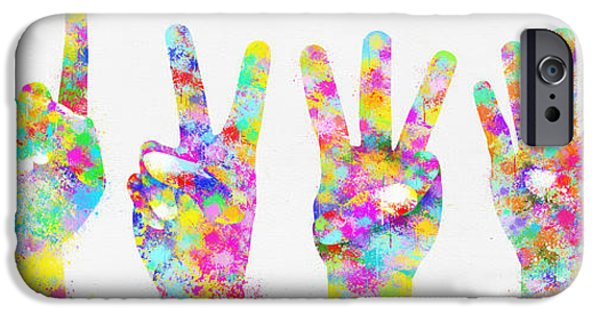 Shape iPhone Cases - Colorful Painting Of Hands Number 0-5 iPhone Case by Setsiri Silapasuwanchai