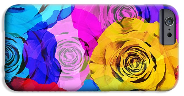 Roses iPhone Cases - Colorful Roses Design iPhone Case by Setsiri Silapasuwanchai