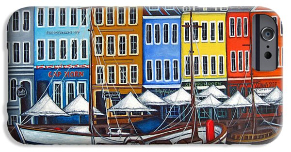 Harbor Paintings iPhone Cases - Colours of Nyhavn iPhone Case by Lisa  Lorenz
