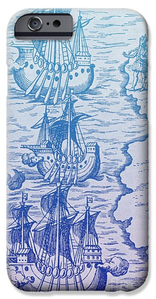 Christopher Columbus iPhone Cases - Columbus Caravels Depart Spain, 1492 iPhone Case by Photo Researchers