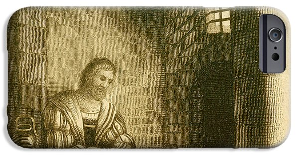 Christopher Columbus iPhone Cases - Columbus In Prison iPhone Case by Photo Researchers