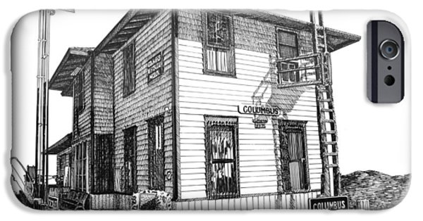 Pen And Ink Framed Prints iPhone Cases - Columbus New Mexico  iPhone Case by Jack Pumphrey