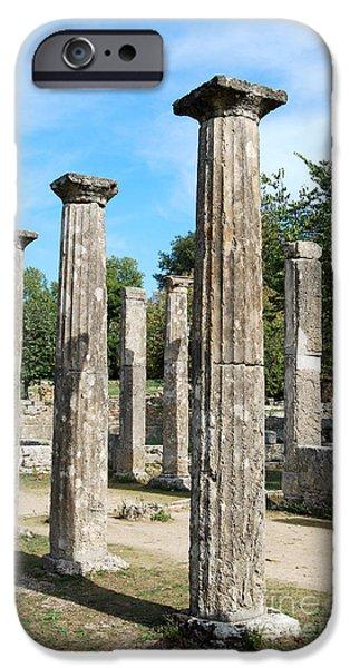 Zeus Digital Art iPhone Cases - Columns at Olympia Greece iPhone Case by Eva Kaufman