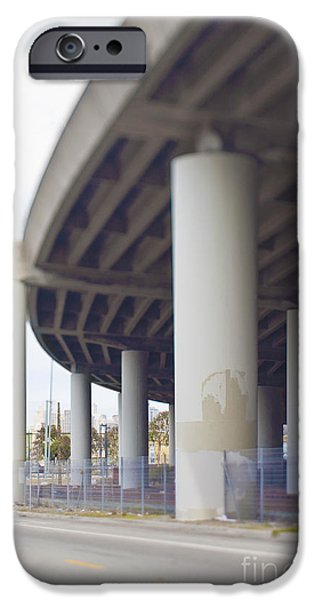 Asphalt iPhone Cases - Columns Supporting Freeway Overpass iPhone Case by Eddy Joaquim