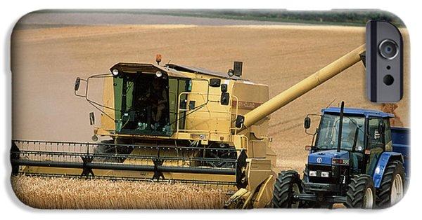 Combine iPhone Cases - Combine Harvester Off-loading Grain iPhone Case by Jeremy Walker