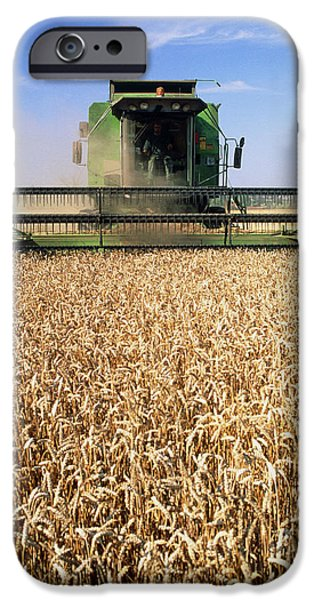 Combine iPhone Cases - Combine Harvester Working In A Wheat Field iPhone Case by Jeremy Walker