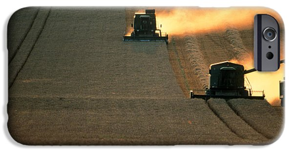 Combine iPhone Cases - Combine Harvesters And Tractor Working In A Field iPhone Case by Jeremy Walker