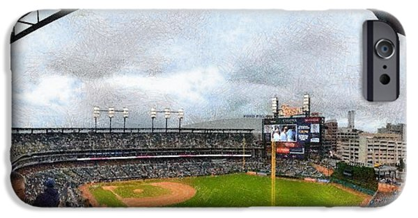 The Tiger Digital Art iPhone Cases - Comerica Park Home of the Detroit Tigers iPhone Case by Michelle Calkins