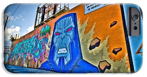Cities Photographs iPhone Cases - Comic Villain in Miami Wynwood iPhone Case by Andres Leon