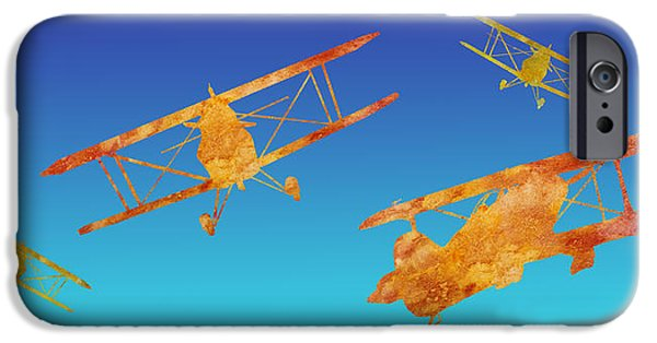 Biplane iPhone Cases - Coming and Going iPhone Case by Jenny Armitage