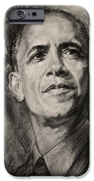 President Obama Drawings iPhone Cases - Commander-in-Chief iPhone Case by Ylli Haruni