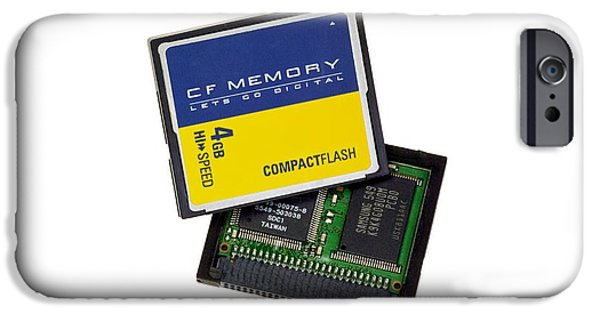Electrical Equipment iPhone Cases - Compact Flash Memory Card iPhone Case by Paul Rapson