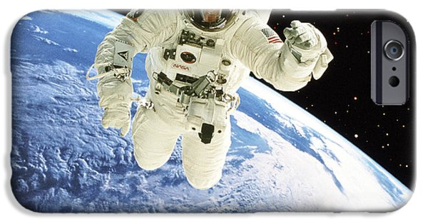 Eva iPhone Cases - Composite Image Of A Spacewalk Over Earth iPhone Case by