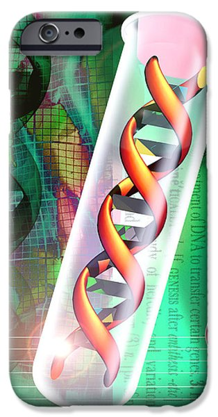 Computer Artwork Of A Dna Sample In A Tes iPhone Case by Victor Habbick Visions
