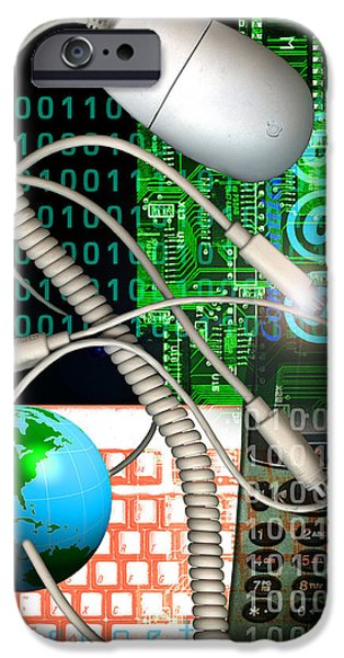 Computer Artwork Of Internet Communication iPhone Case by Victor Habbick Visions