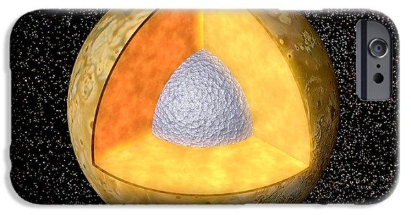 Galilean Moon iPhone Cases - Computer Artwork Of Io Cut Away To Show Interior iPhone Case by Z. Gorjian & E. Dejongjpl
