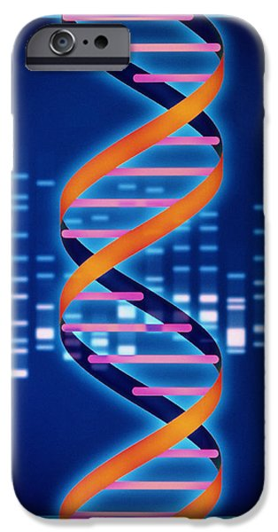 Dna Art iPhone Cases - Computer Artwork Of Some Dna With Its Genetic Code iPhone Case by Laguna Design