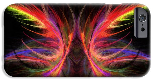 Psychedelic Photographs iPhone Cases - Computer Generated Abstract Butterfly Fractal Flame Art iPhone Case by Keith Webber Jr
