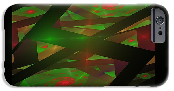 Geometric Effect iPhone Cases - Computer Generated Green Triangles Abstract Fractal Flame Abstract Art iPhone Case by Keith Webber Jr