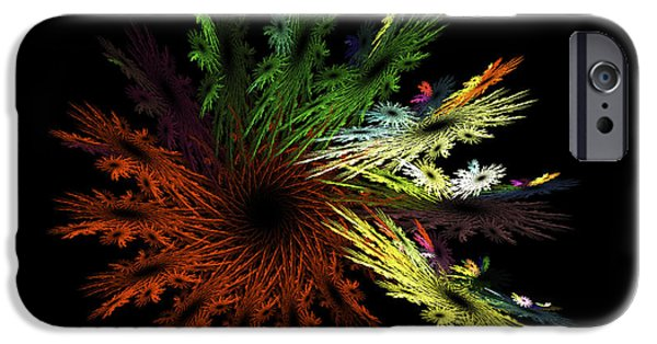 Abstractions iPhone Cases - Computer Generated Red Yellow Green Abstract Fractal Flame black iPhone Case by Keith Webber Jr