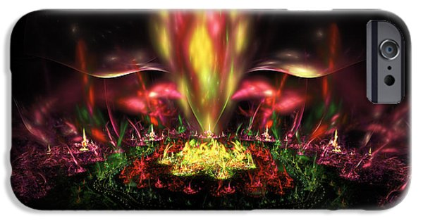 Abstractions iPhone Cases - Computer Generated Red Yellow Green Abstract Fractal Flame iPhone Case by Keith Webber Jr