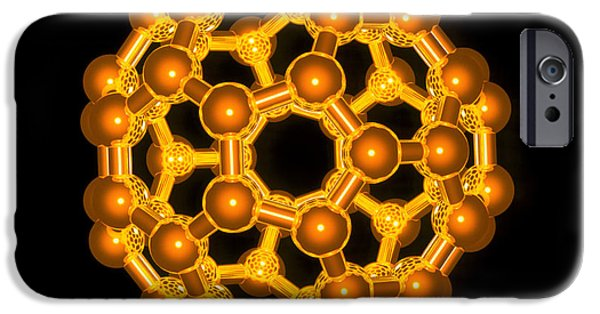 Molecular Graphic iPhone Cases - Computer Graphic Of A Buckyball (c60) iPhone Case by Laguna Design