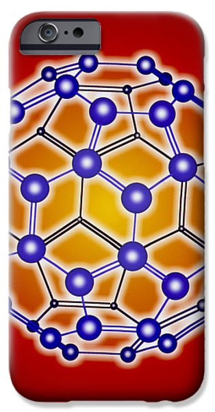 Molecular Graphic iPhone Cases - Computer Graphic Of A Buckyball (c60) iPhone Case by Pasieka