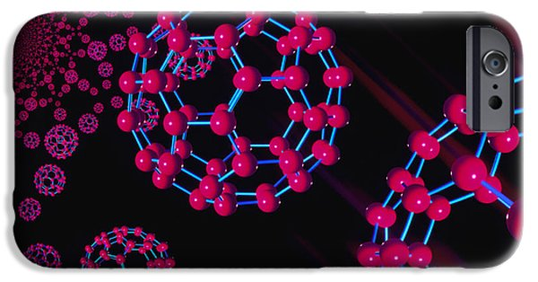 Molecular Graphic iPhone Cases - Computer Graphic Of Buckyballs (c60) iPhone Case by Laguna Design