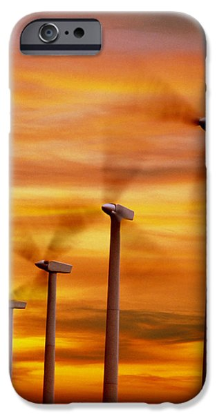 Energy Industry iPhone Cases - Computer Graphic Of Wind Farm At Sunset iPhone Case by Geoff Tompkinson