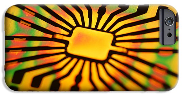 Microchip Photographs iPhone Cases - Computer Microchip Circuit iPhone Case by Pasieka