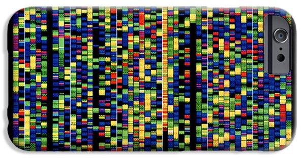 Genetic iPhone Cases - Computer Screen Showing A Human Genetic Sequence iPhone Case by David Parker