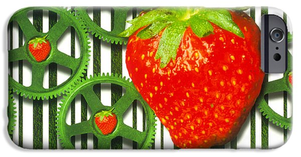 Strawberry Art iPhone Cases - Conceptual Image Of Genetically-engineered Fruit iPhone Case by Victor Habbick Visions