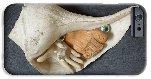 Feet Sculptures iPhone Cases - Conch Fritter Critter iPhone Case by Douglas Fromm