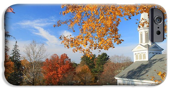 Concord iPhone Cases - Concord Massachusetts in Autumn iPhone Case by John Burk
