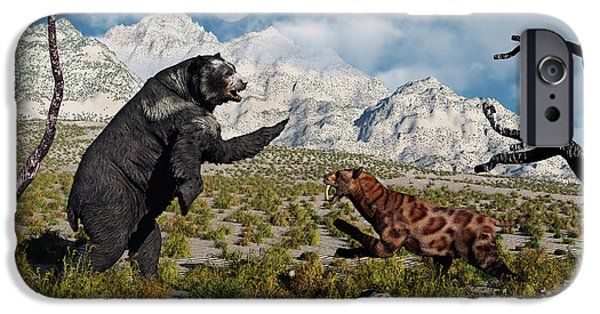 The Tiger iPhone Cases - Confrontation Between An Arctodus Bear iPhone Case by Mark Stevenson