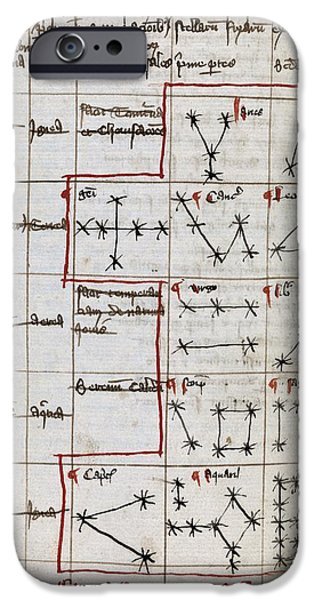 Constellations iPhone Cases - Constellations, 14th Century Manuscript iPhone Case by Middle Temple Library