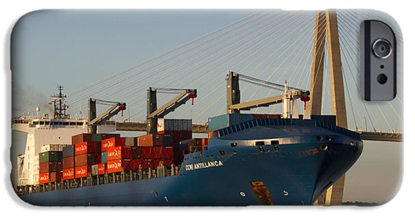 Container iPhone Cases - Container Ship CCNI Antillanca in Charleston SC  iPhone Case by Dustin K Ryan