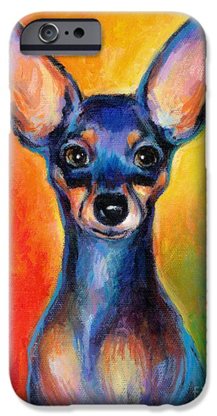 Professional Drawings iPhone Cases - Contemporary colorful Chihuahua chiuaua painting iPhone Case by Svetlana Novikova