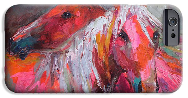 Color Drawings iPhone Cases - Contemporary Horses painting iPhone Case by Svetlana Novikova