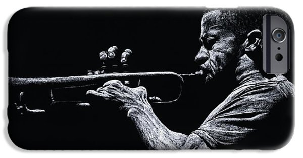 Music Pastels iPhone Cases - Contemporary Jazz Trumpeter iPhone Case by Richard Young
