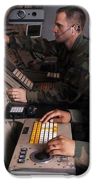 Control Technicians Use Radarscopes iPhone Case by Stocktrek Images