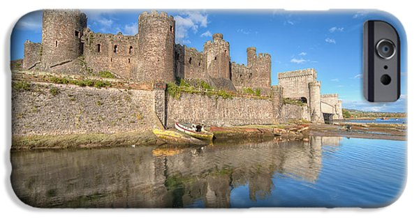 North Wales Digital Art iPhone Cases - Conwy Castle iPhone Case by Adrian Evans