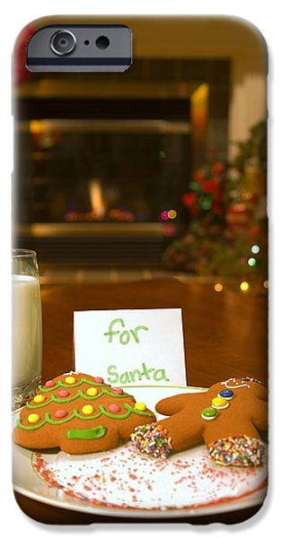 Christmas Eve iPhone Cases - Cookies For Santa Claus iPhone Case by Carson Ganci