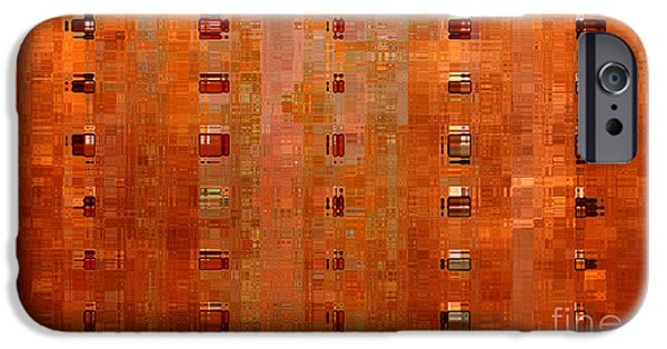 Abstract Digital Art Mixed Media iPhone Cases - Copper Abstract iPhone Case by Carol Groenen